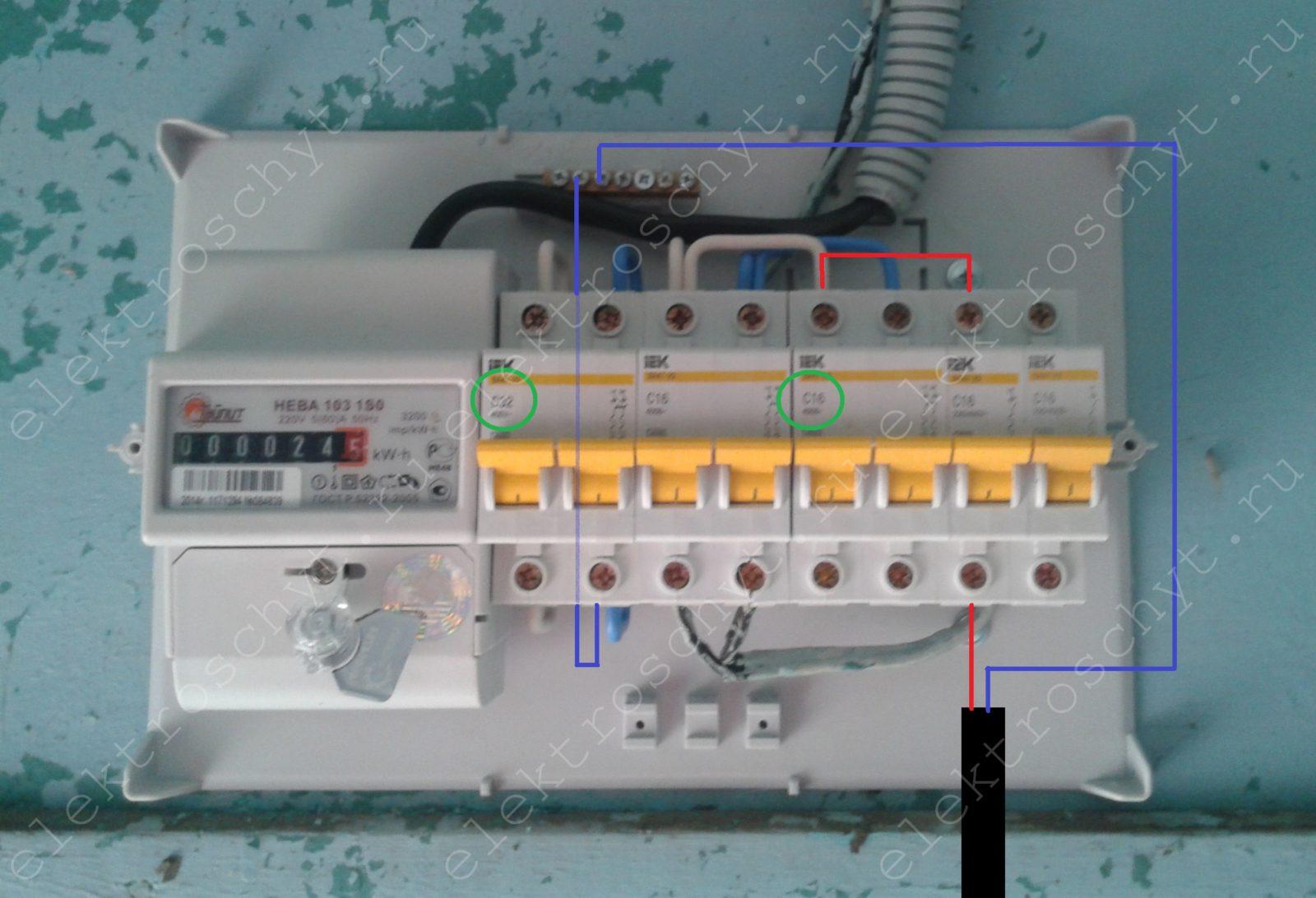 подключить однополюсный автомат в электрощит
