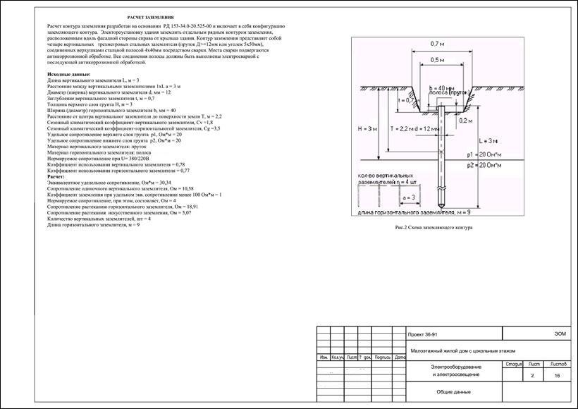 контур заземления дома в проекте электроснабжения