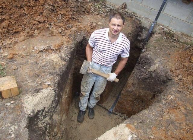 выкопать контур заземления дома