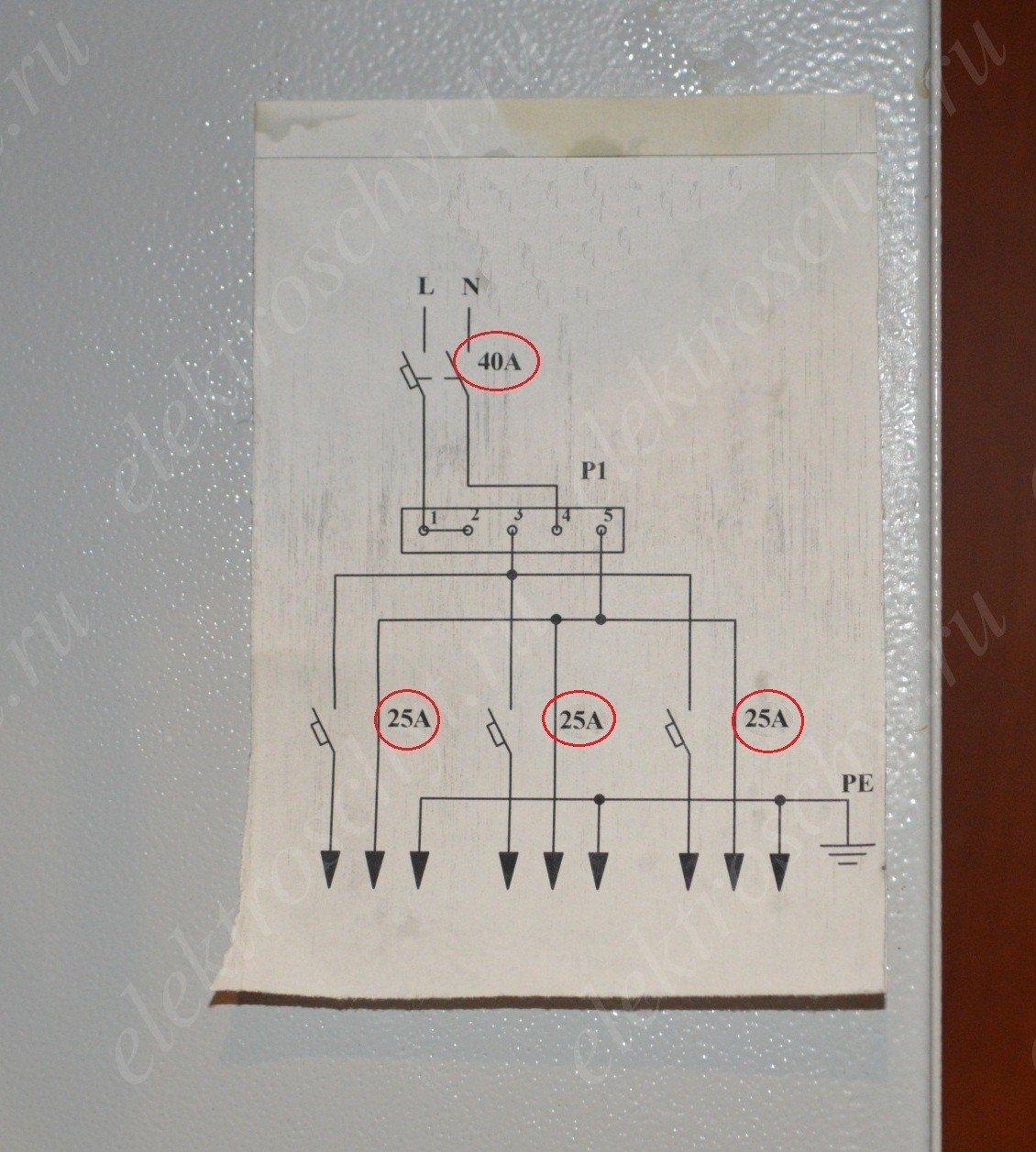 схема квартирный щиток