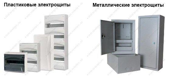 Пластиковый и металлический электрощит